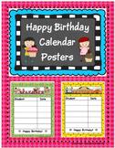 Happy Birthday Calendar Posters
