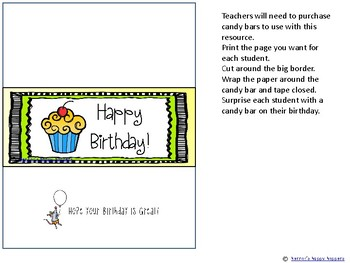Happy Birthday - Candy Bar Wrappers