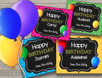 Happy Birthday Cards {EDITABLE} Student Birthday - Bulletin Board