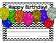 Happy Birthday Cards in Chevron with Glitter Balloons