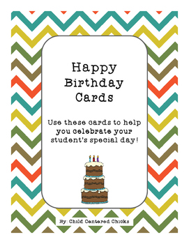 Happy Birthday Cards with Chevron Background Paper and a Cake!