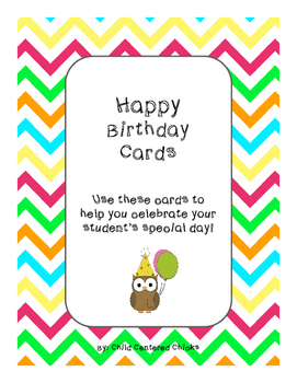 Happy Birthday Cards with Chevron Background Paper and Owls!