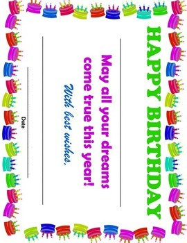 Happy Birthday Certificate - Print and Customize