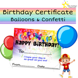 Happy Birthday Certificate - Balloons