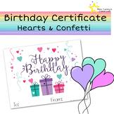 Happy Birthday Certificate - Hearts & Confetti
