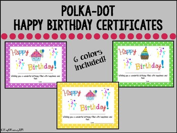 Happy Birthday Certificates by Mrs O Knows | Teachers Pay ...