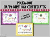Polka-Dot Happy Birthday Certificates