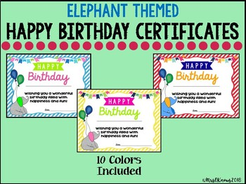 Happy Birthday Certificates - Elephant Theme
