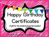 Happy Birthday Certificates for Students!