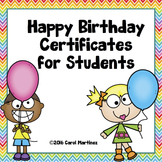 Happy Birthday Certificates for Students