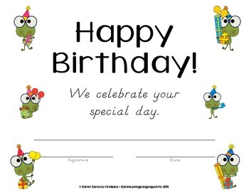 Happy Birthday Certificates in English
