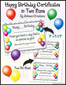 Happy Birthday Certificates in Two Sizes