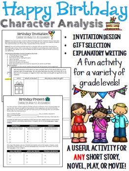 Happy Birthday! Character Analysis Activity (short stories, novels, plays, etc.)