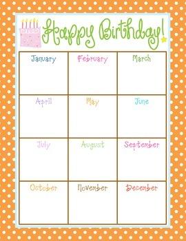 Happy Birthday Chart Organizer