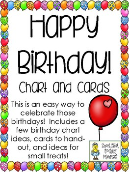 Happy Birthday! - Chart and Cards for Students - FREEBIE