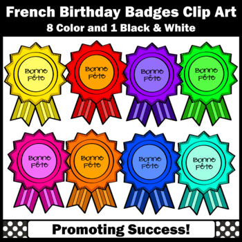 Happy Birthday Clip Art Badges, FRENCH Clipart, Commercial Use SPS