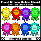 Birthday Badges Clip Art in FRENCH, SPS