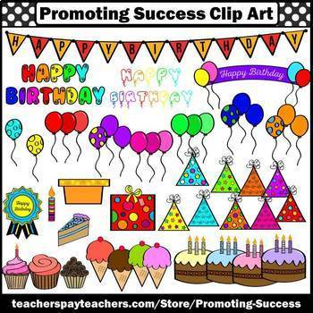 Birthday Clipart Commercial Use Balloons Cake Party Hats SPS