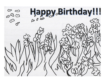 Happy Birthday Coloring Page- Inspired by Van Gogh's Irises
