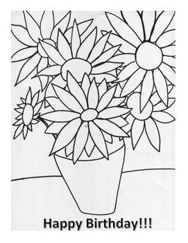 Happy Birthday Coloring Page- Inspired by Van Gogh's Sunflowers