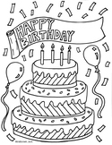 Happy Birthday Coloring Sheet {MrsBrown.Art}