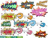 Happy Birthday Comic Book Superheroes Pop Text Props Speech Bubble Party -276S