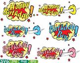 Happy Birthday Comic Book clipart Text Props Speech Bubble Party Super hero 277s