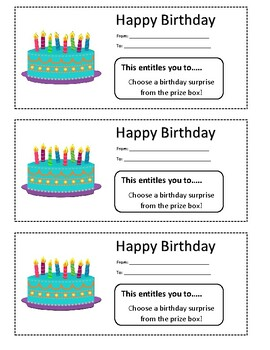 Happy Birthday Coupons By Education Madness Teachers Pay Teachers