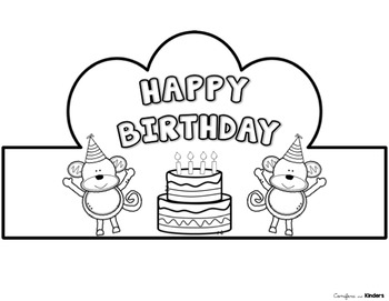 Happy Birthday Crowns - Black and White, Students Color