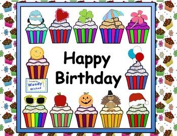 Happy Birthday Cupcakes Bulletin Board Posters