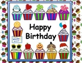 Happy Birthday Cupcakes Bulletin Board Posters