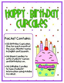 Happy Birthday Cupcakes - Printables