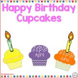 Happy Birthday Cupcakes an Editable Classroom Display Board