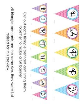 Happy Birthday Decorative Banner- Colorful Chevron Pattern