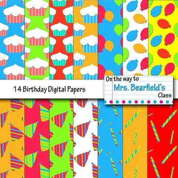 Happy Birthday Digital Papers