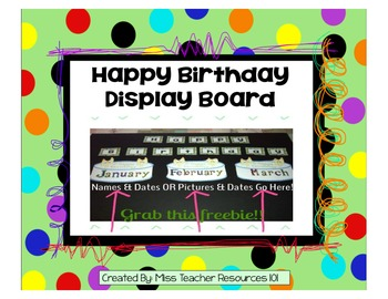 Happy Birthday Display Board! Freebie!