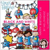 Happy Birthday Doc clip art - BLACK AND WHITE- by Melonheadz
