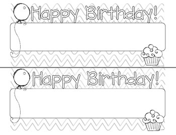 Happy Birthday Doodle Tags - Ink Friendly Editable Desk Name Tags