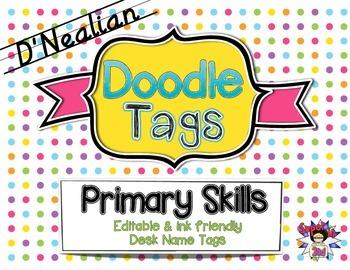 Primary Skills D'Nealian Doodle Tags - Ink Friendly Editab