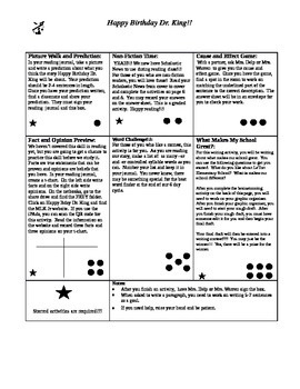 Happy Birthday Dr. King Story Dots- Houghton Mifflin 4th Grade Series