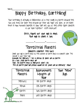 Happy Birthday, Earthling!- How Old Are You in Space? activity