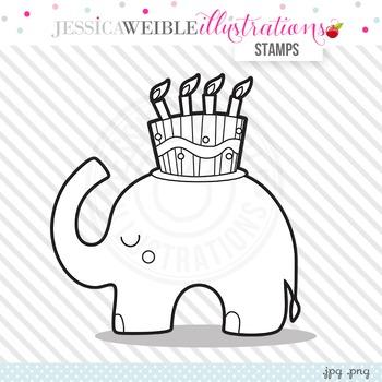 Happy Birthday Elephant Cute Digital B&W Stamp, Elephant Line Art, Blackline