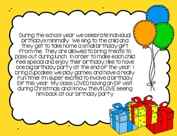 Happy Birthday Elf in the Classroom