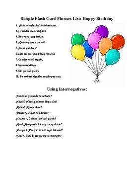 Happy Birthday ¡Feliz cumpleaños! Vocabulary