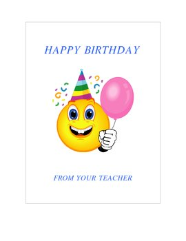Happy Birthday From Your Teacher Cards II
