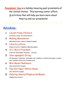 Happy Birthday George! -- A Presidents' Day Learning Center Binder