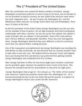 Happy Birthday George Washington Informational Text and Graphic Organizer