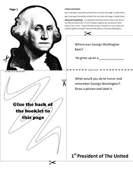 Happy Birthday George Washington Informational Text and Graphic Organizer