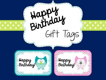 Happy Birthday Gift Tags By MonsterTeachingIdeas