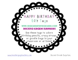 Happy Birthday Gift Tags- Black with Pink or Green Accent